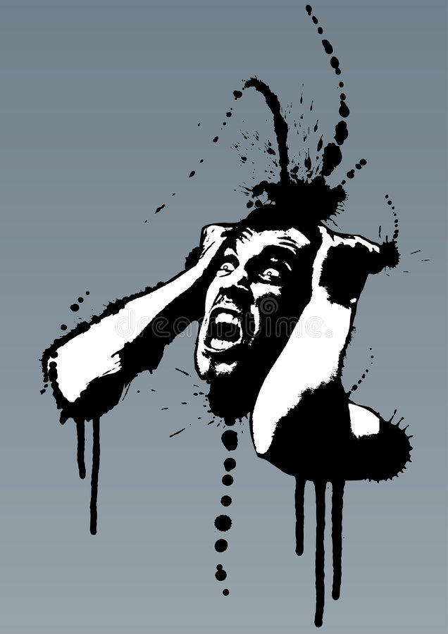 Schreiender Grunge wütender nervöser Mann lizenzfreie abbildung