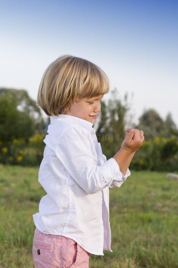 Download Schreiender Junger Junge Mit Fingerverletzung Stockbild - Bild von schmerz, finger: 26357679