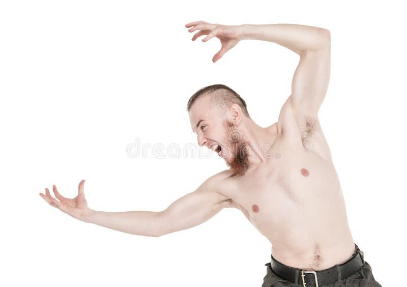 Schreiender Mann mit dem nackten Torso lokalisiert lizenzfreies stockfoto