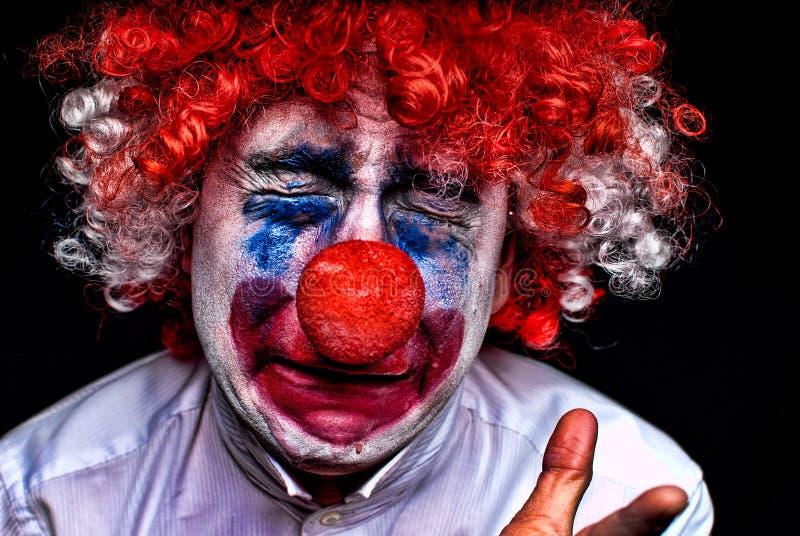 Schreiender trauriger Clown stockbild