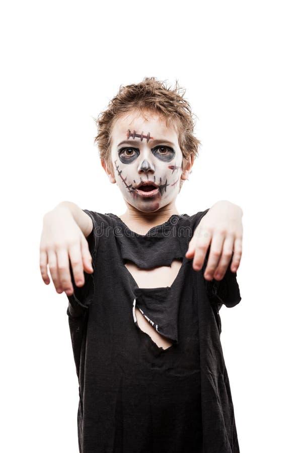Schreiendes gehendes totes Zombiekinderjungenhalloween-Horrorkostüm lizenzfreie stockfotografie