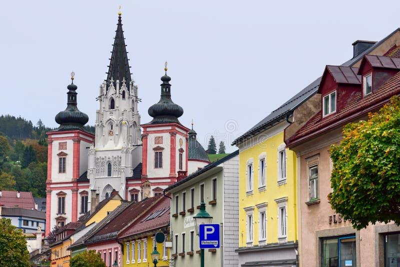 Schrein unserer Dame in der Stadt Mariazell, Standort der Pilgerfahrt für Katholische Österreich lizenzfreies stockfoto