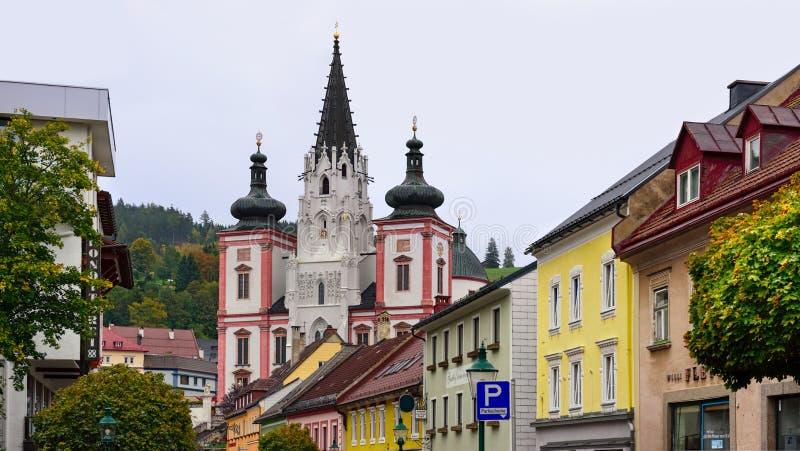 Schrein unserer Dame in der Stadt Mariazell, Standort der Pilgerfahrt für Katholische Österreich lizenzfreies stockbild