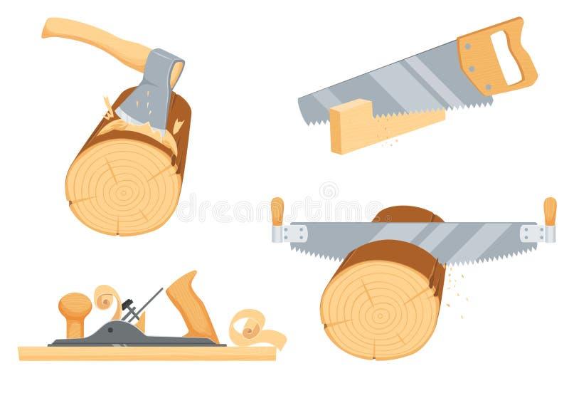 Schreinerei, Holzfäller, Holzfällerinstrumente lizenzfreie abbildung