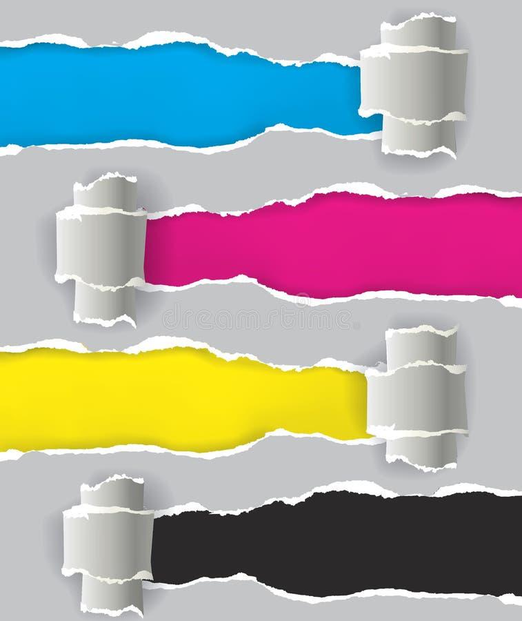 Schriftfarben auf dem zerrissenen Papier vektor abbildung