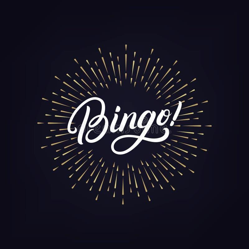 Schriftliche Beschriftung des Bingo Hand vektor abbildung