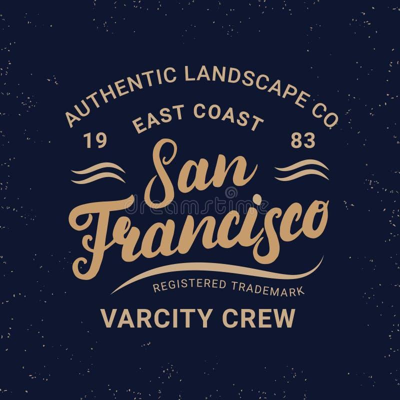 Schriftliche Beschriftung San Franciscos Hand für Aufkleber, Ausweis, T-Stück Druck im Weinleseretrostil stock abbildung