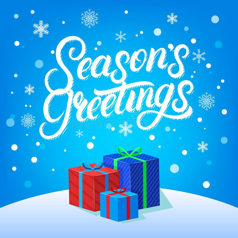 Schriftliche Briefgestaltung der Jahreszeit-Grüße Hand Moderne Bürste calligarphy für Weihnachtskarte stock abbildung