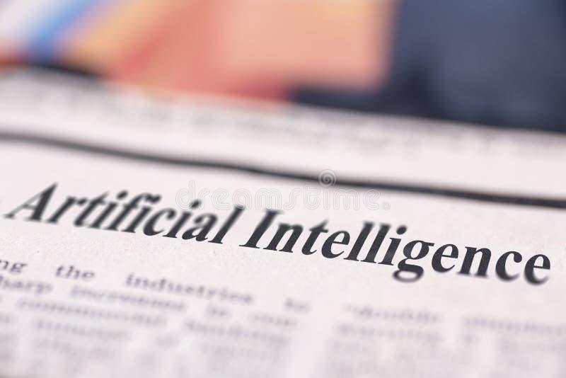 Schriftliche Zeitung der künstlichen Intelligenz lizenzfreies stockfoto