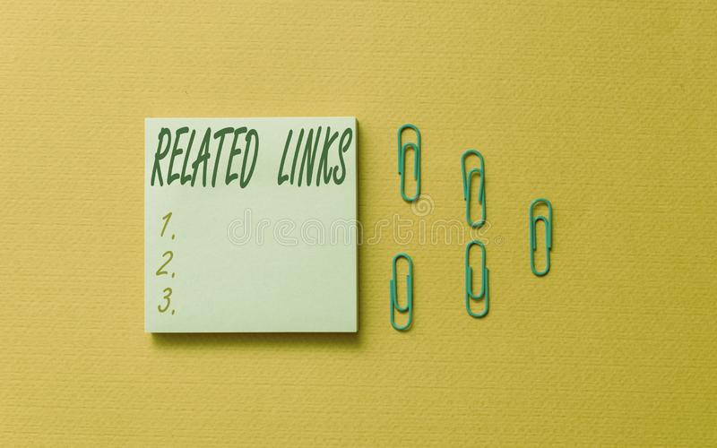 Schriftlicher Vermerk mit Links Geschäftsfotografie zeigt Website innerhalb einer Webseite Querverweise Hotlinks Hyperlinks farbi stockfoto