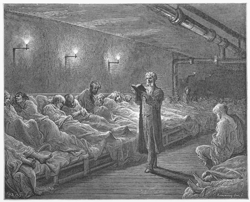 Schrifts-Leser in einem Nachtschutz lizenzfreie abbildung