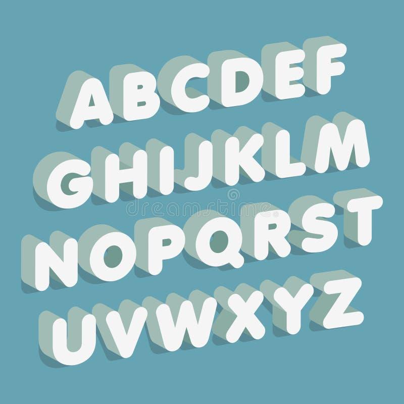 Schrifttyp 3D Alphabet bezeichnet Kreidevorstand mit Buchstaben Auch im corel abgehobenen Betrag vektor abbildung