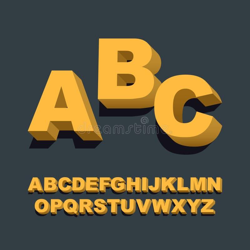 Schrifttyp 3D Dreidimensionale Alphabetbuchstaben Auch im corel abgehobenen Betrag stock abbildung