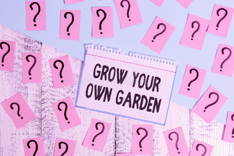 Schriftzug mit dem Titel 'Grow Your Own Garden' Business-Foto-Präsentation Organic Garening Sammlung Demonstration stockfotos