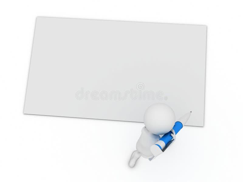 Schrijf een kaart met grote pen stock illustratie