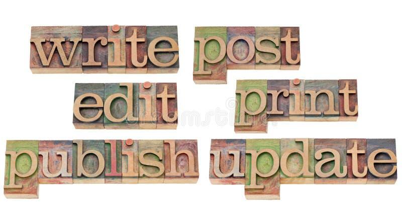 Schrijf, geef uit, publiceer, werk bij stock afbeelding