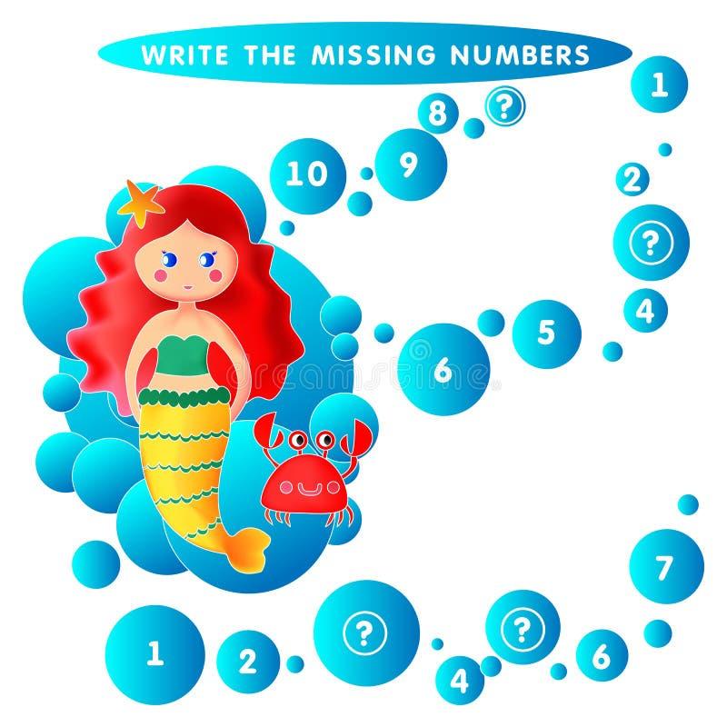 Schrijf ontbrekende Undine van de aantalmeermin vectorillustratie vector illustratie
