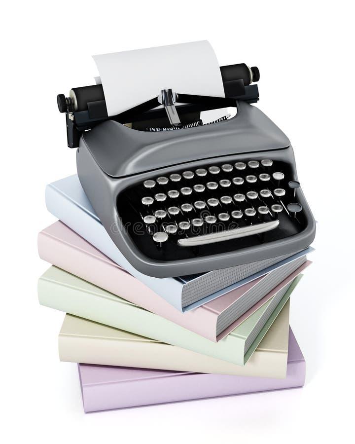 Schrijfmachine en boekenstapel op witte achtergrond wordt geïsoleerd die 3D Illustratie vector illustratie
