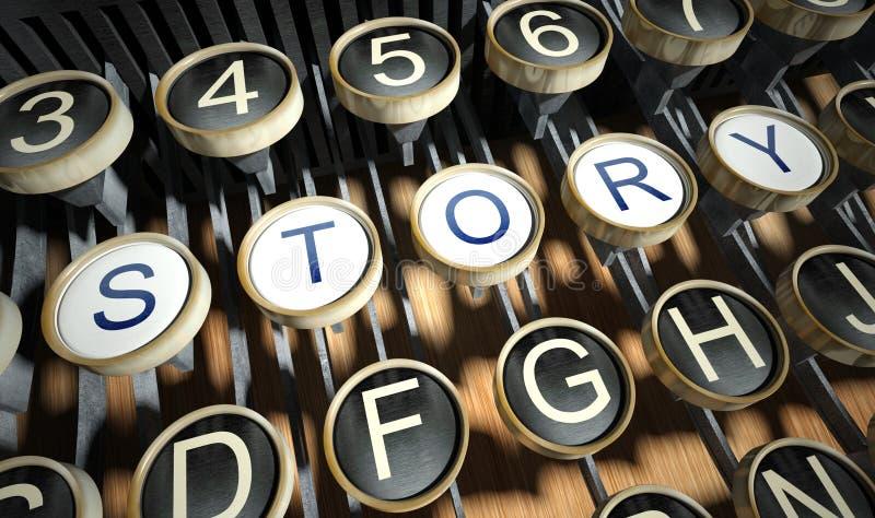 Schrijfmachine met de knopen van het Verhaal, wijnoogst royalty-vrije illustratie