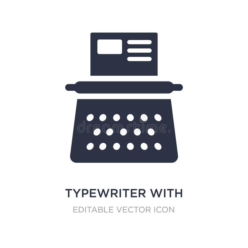 schrijfmachine met document pictogram op witte achtergrond Eenvoudige elementenillustratie van Algemeen concept royalty-vrije illustratie