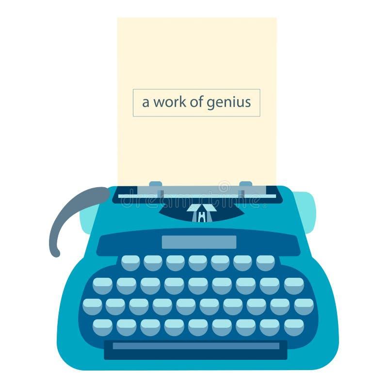 Schrijfmachine met een blad van document en teksta het werk van genie stock illustratie