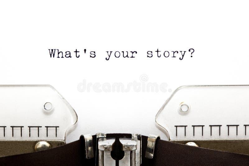 Schrijfmachine Wat Uw Verhaal Is Royalty-vrije Stock Afbeelding
