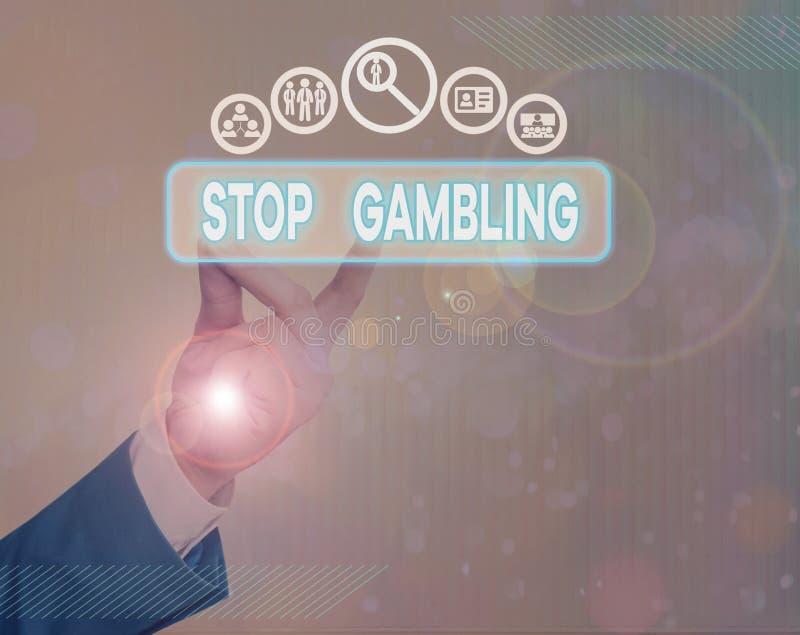 Schrijfnotitie met Stop Gambling Met zakelijke foto's wordt de drang om ondanks schadelijke kosten voortdurend te gokken, gestopt stock foto