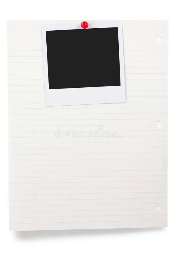 Schrijfpapier en lege foto stock afbeelding