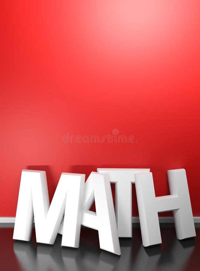 Schrijft het WISKUNDE 3D wit bij rode muur - het 3D teruggeven vector illustratie