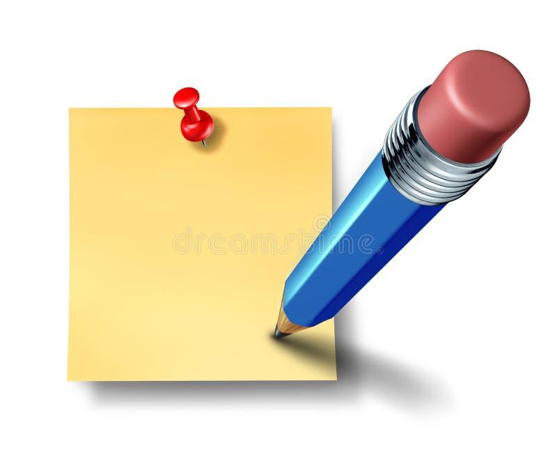 Schrijven een lege bureaunota met blauw potlood royalty-vrije illustratie