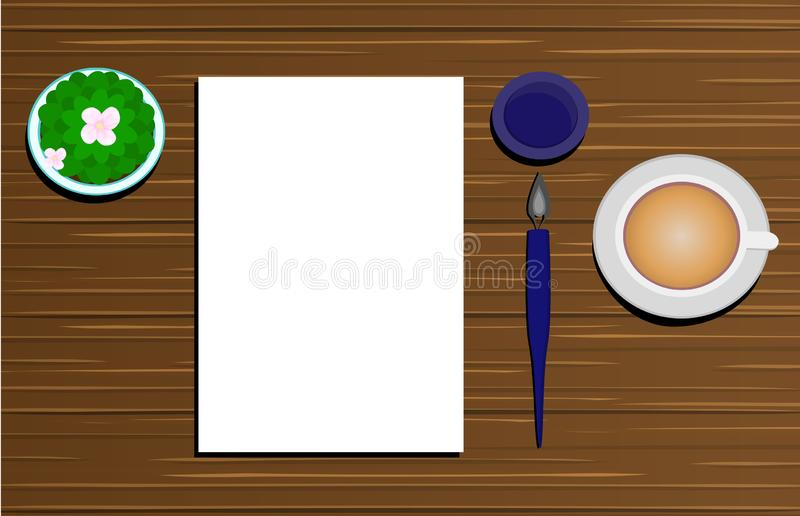 Schrijven van een briefpapier, pen en een beker cappuccino, op een houten bureau geplaatst in een plat ontwerp stock illustratie