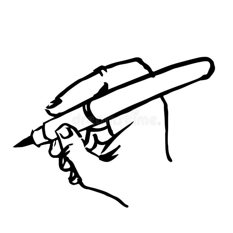 Schrijvend hand met getrokken de hand van de penkrabbel royalty-vrije illustratie