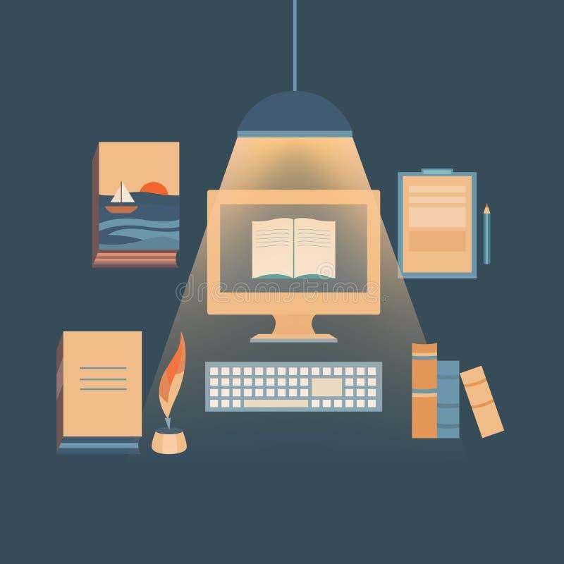 Schrijvende boeken en het copywriting royalty-vrije illustratie