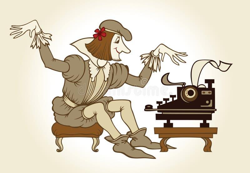 Schrijvende dichter stock illustratie