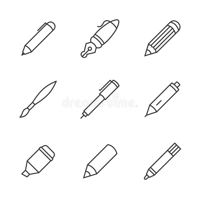 Schrijvende hulpmiddelen Potlood, pen, vulpen, borstel, teller, kleurpotlood, vectorpictogrammen van de ballpoint de dunne lijn vector illustratie