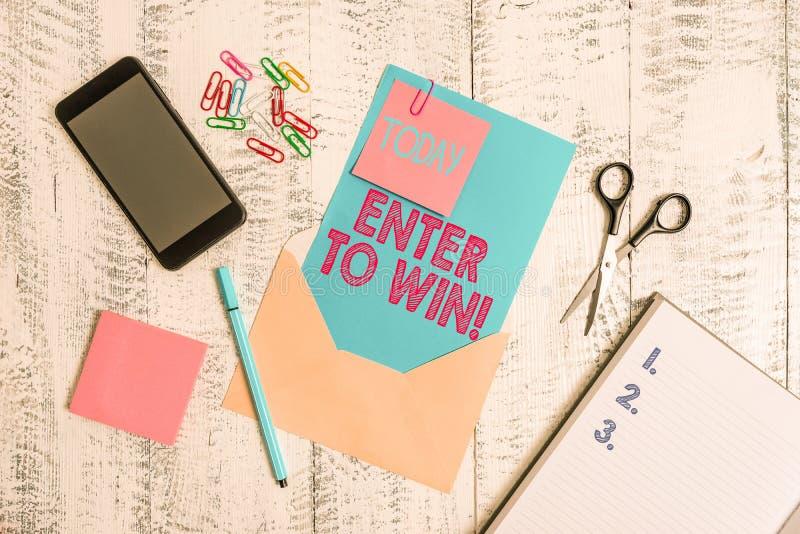 Schrijvende notitie met vermelding Enter to Win Zakelijke foto toont de uitwisseling van iets waardevols voor het winnen van de p stock afbeelding