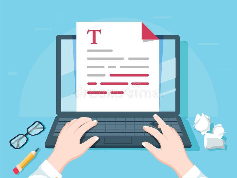 Schrijver het schrijven op computerdocument blad vectorillustratie, de vlakke redacteur van de beeldverhaalpersoon schrijft elekt stock illustratie