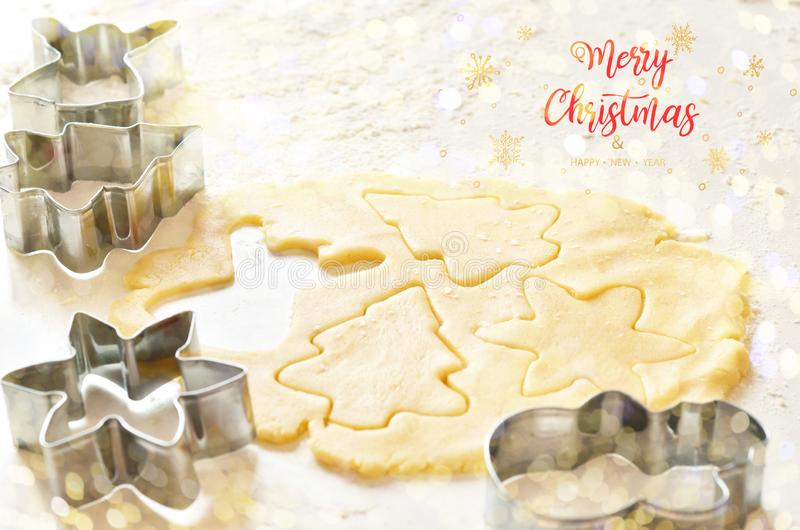 Merry Christmas. Making gingerbread cookies for Christmas. stock image