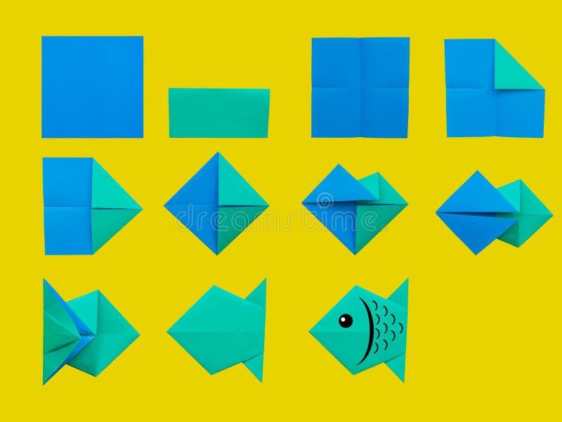 Schritt für Schritt Anleitung: Wie man Origami-Fische macht Kinderheilkunde vektor abbildung