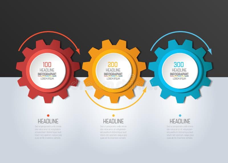 3 Schritt Infographic Kreise mit Pfeilen lizenzfreie abbildung