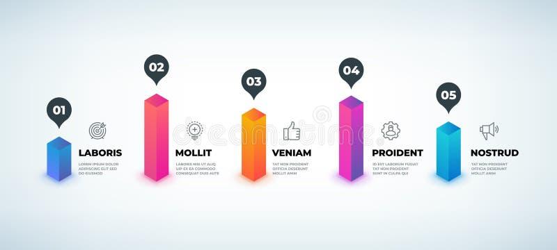 Schritt infographic Realistische Geschäftsdiagrammelemente, Darstellungsdiagramm des Arbeitsflusses 3D, grafische Schablone der V lizenzfreie abbildung