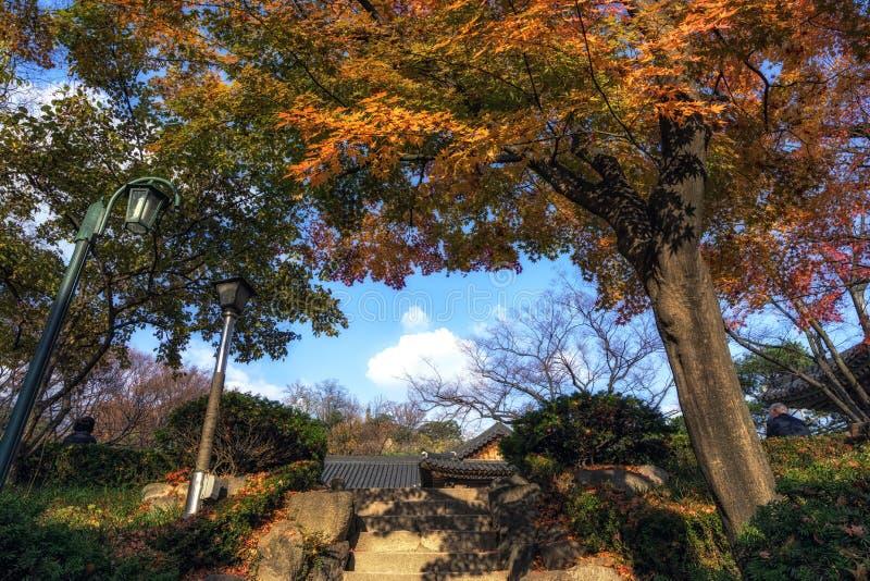 Schritte, die zum Haupt-Gilsangsa-Tempel genommen während der Herbstsaison führen Gilsangsa ist ein berühmter buddhistischer Temp stockfotos