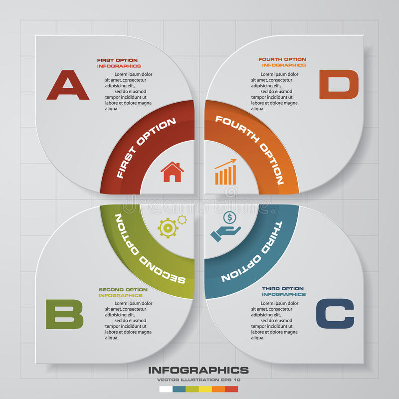 4 Schritte Infographic-Berichts-Schablonenplan Auch im corel abgehobenen Betrag stock abbildung