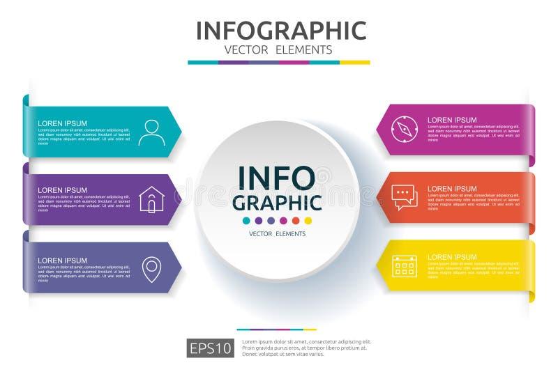 6 Schritte infographic Zeitachsedesignschablone mit Aufkleber des Papiers 3D Geschäftskonzept mit Wahlen Für Inhalt Diagramm, Flu stock abbildung