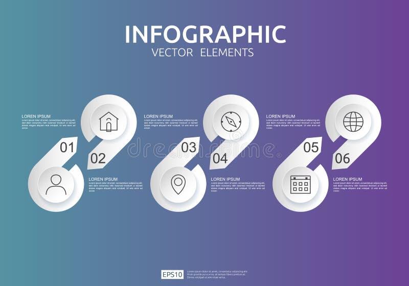 6 Schritte infographic Zeitachsedesignschablone mit Aufkleber des Papiers 3D, integrierte Kreise Gesch?ftskonzept mit Wahlen Für  stock abbildung