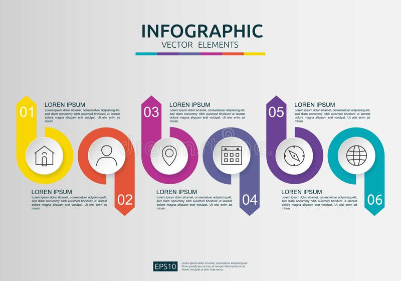 6 Schritte infographic Zeitachsedesignschablone mit Aufkleber des Papiers 3D, integrierte Kreise Gesch?ftskonzept mit Wahlen Für  lizenzfreie abbildung