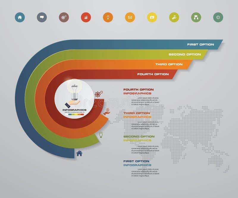 4 Schritte Infographics-Element für Darstellung stock abbildung