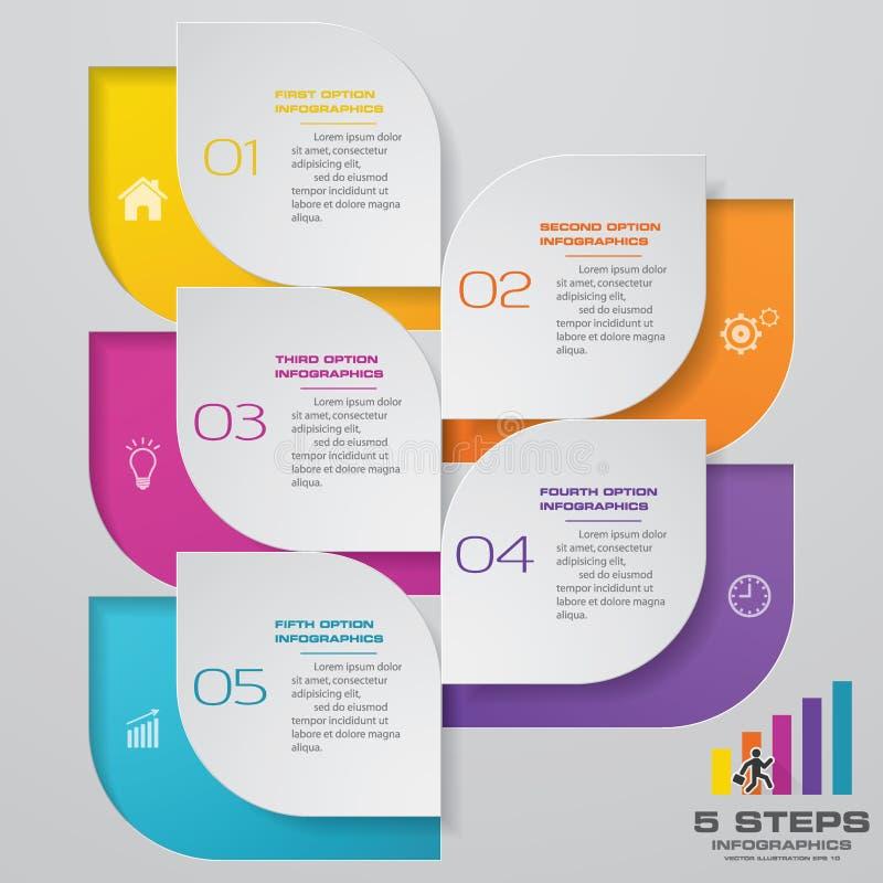 5 Schritte infographics Element-Schablonendiagramm stock abbildung