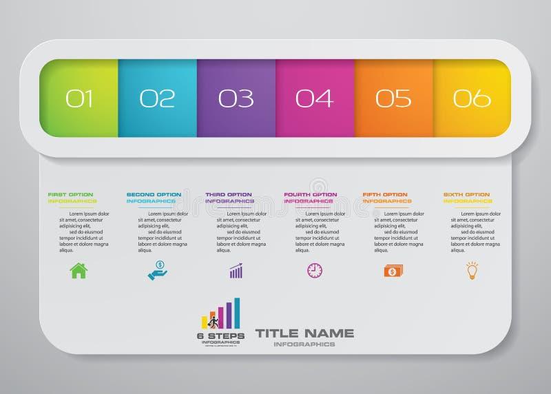 6 Schritte infographics Element-Schablonendiagramm für Darstellung stock abbildung