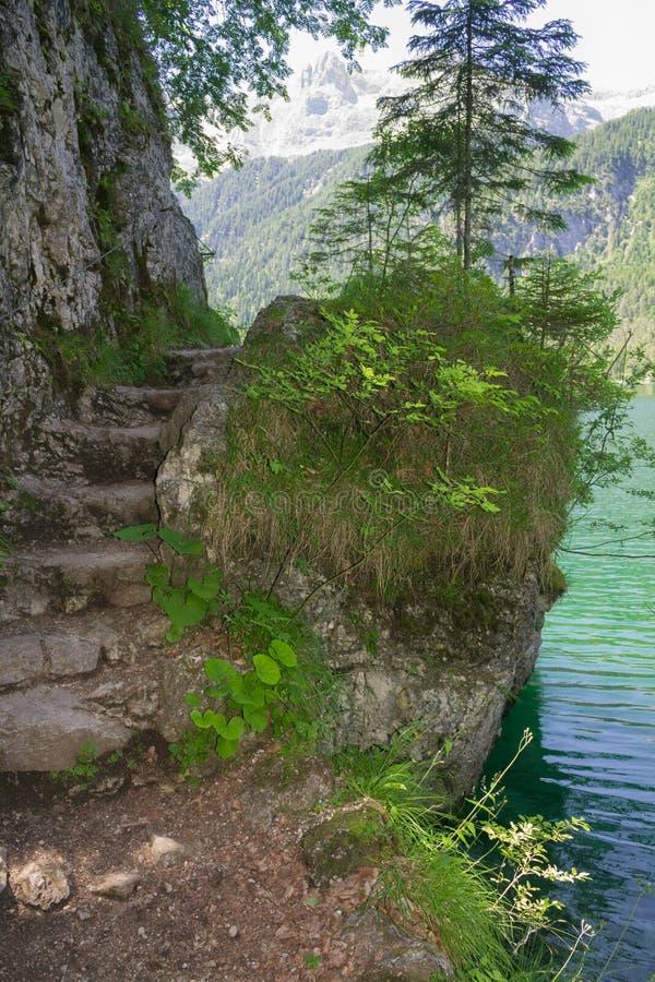 Schritte schnitzten in den Felsen stockbild